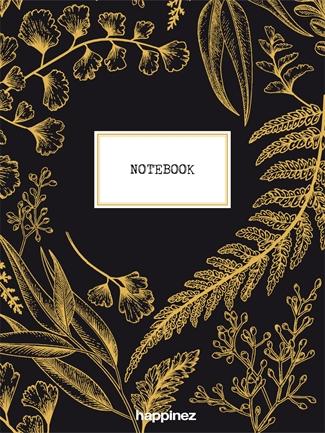 Happinez: Botanical notebook zwart