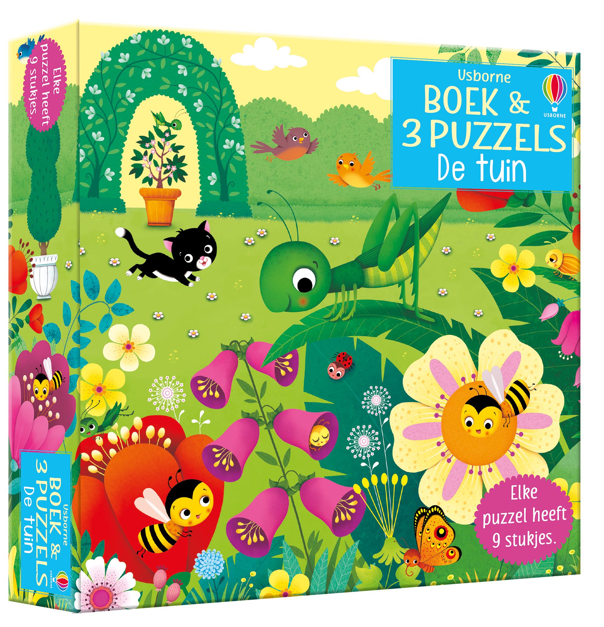 Boek & 3 Puzzels De tuin