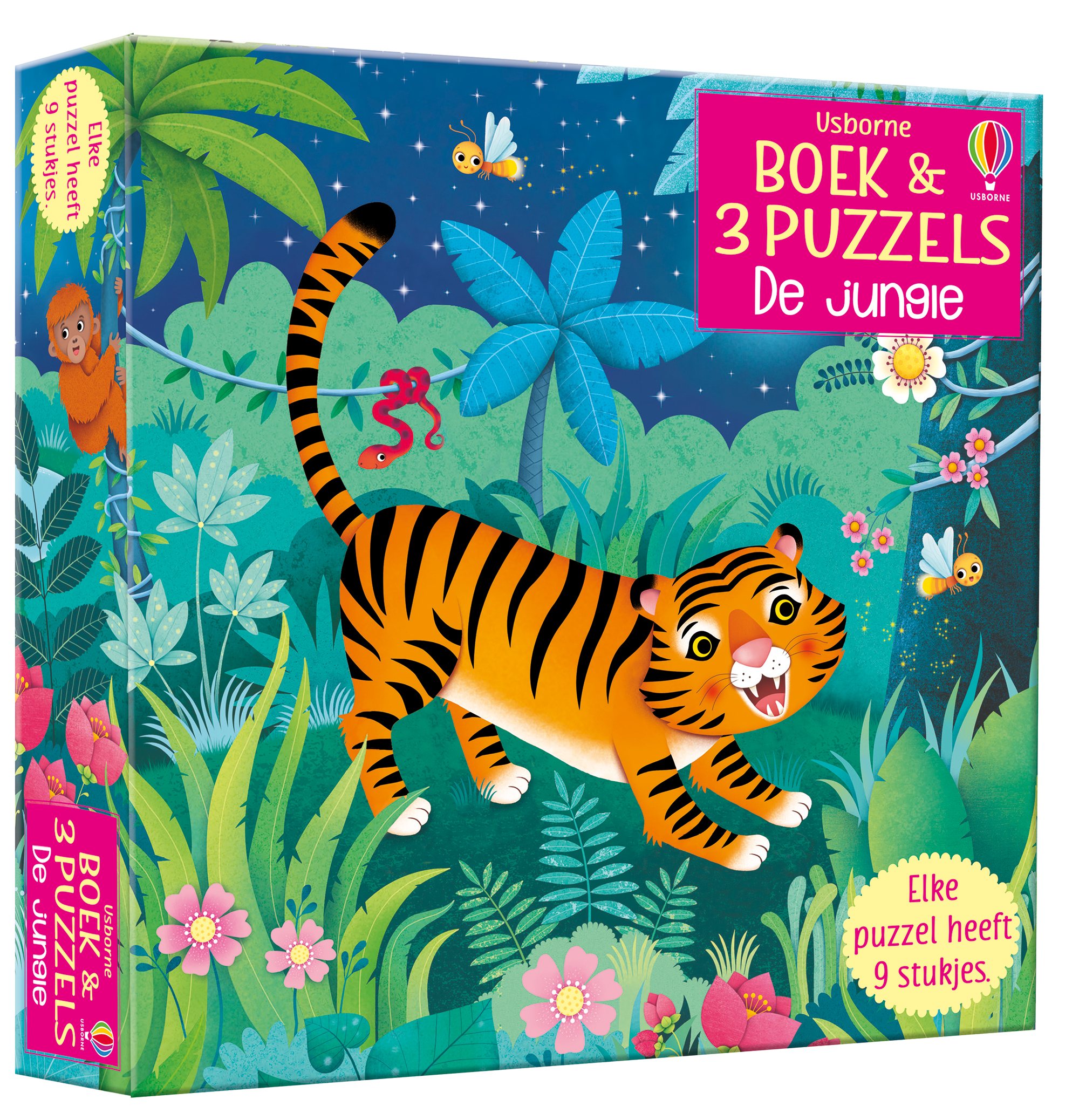 Boek & 3 Puzzels De jungle