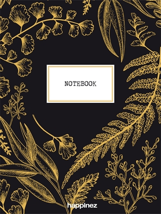 Happinez: Botanical notebook zwart
